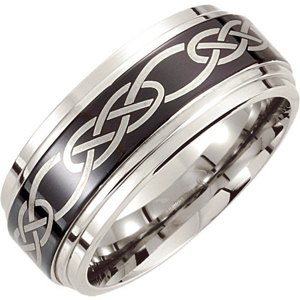 cobalt with a black laser design style stucor147asp - Cobalt Wedding Rings