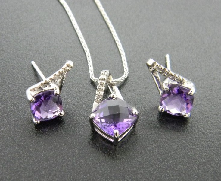 14 karat white gold checkerboard cut amethyst pendant and earrings