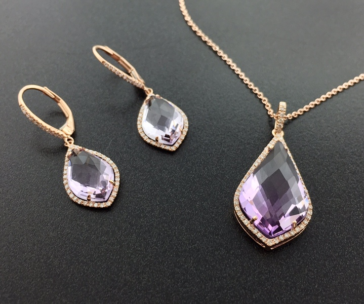 pink amethyst set in 14 karat rose gold with diamonds