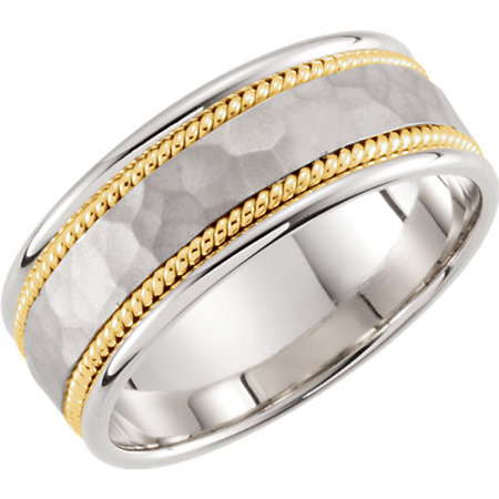 14 karat white gold band with yellow gold twisted wire. Style stu51296asp.