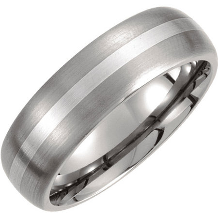 Titanium band with a sterling silver stripe inlay. Style stut931asp.