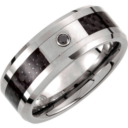 Tungsten with black carbon fiber inlay and a black or white diamond accent. Style stutar445dasp.