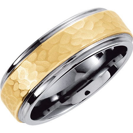 Tungsten with a hammered finish yellow gold inlay. Style  stutar539asp.