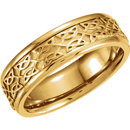 14 karat yellow gold Celtic design. Also available in white. Style stu50519asp.
