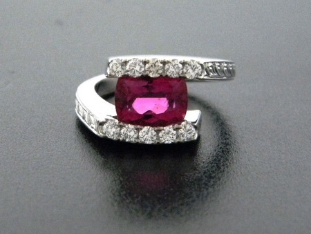 Cushion cut rubelite and diamond ring. Designed by Kurt Rose *sold*