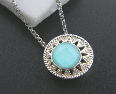 Sterling silver with turquoise and diamond  necklace. Was $600, now $360