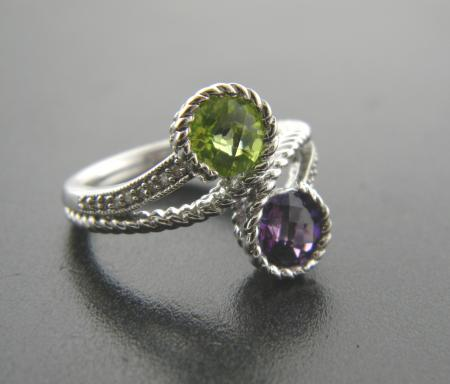 Sterling silver, amethyst and peridot with diamonds. Was $455, now $273**SOLD**
