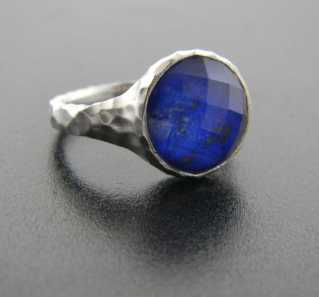 Hammered sterling silver and lapis ring, size 7. Was $230, now $138.