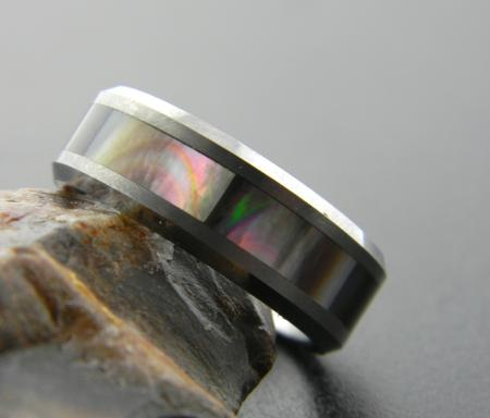 Men's tungsten and mother of pearl band, size 10 (cannot be resized). Was $480, now $288.