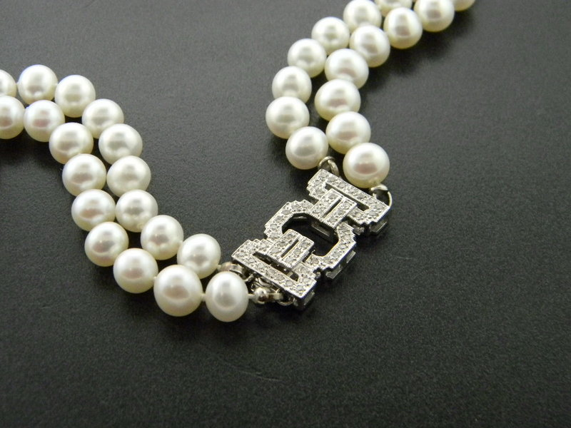 7mm double strand freshwater cultured pearl necklace with a custom designed, 18 karat white gold clasp. 50 brilliant cut diamonds totaling .50 carat. : Pearls : Aspen Jewelry Designs