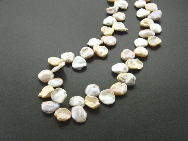 "Cultured freshwater multicolored petal pearl necklace. 17"" : Pearls : Aspen Jewelry Designs"