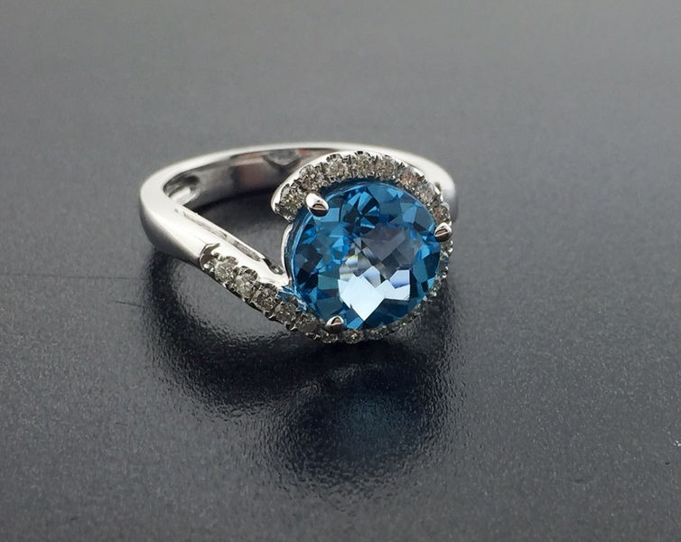 *SOLD*14 karat white gold ring featuring a 3.40 carat blue topaz and 0.23 tcw diamonds. *SOLD* : Gemstone : Aspen Jewelry Designs