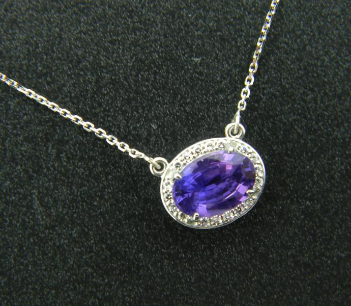 14 karat white gold halo necklace with a 1.24 carat faceted oval purple sapphire with a diamond halo : Gemstone : Aspen Jewelry Designs