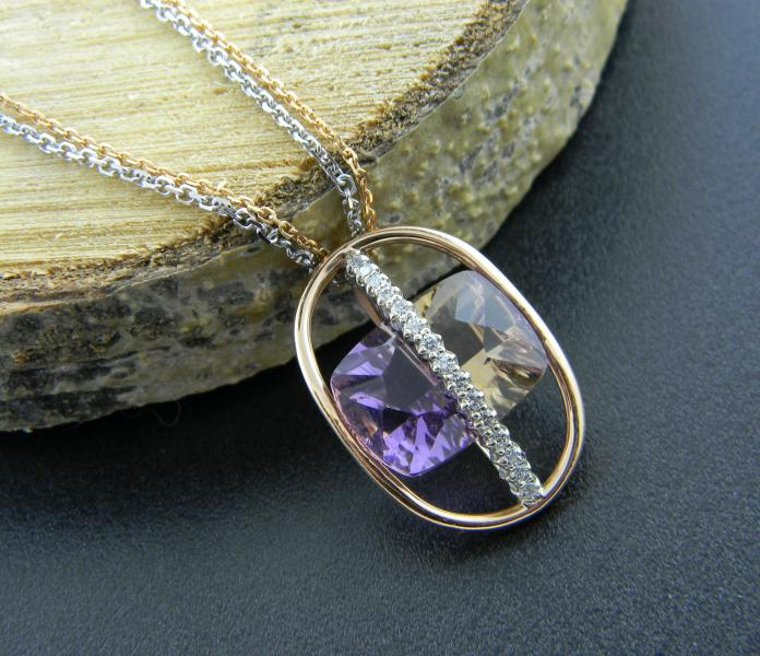 8.05 carat Ametrine accented with 25 brilliant cut diamonds, custom designed and hand made in 18 karat rose and white gold.