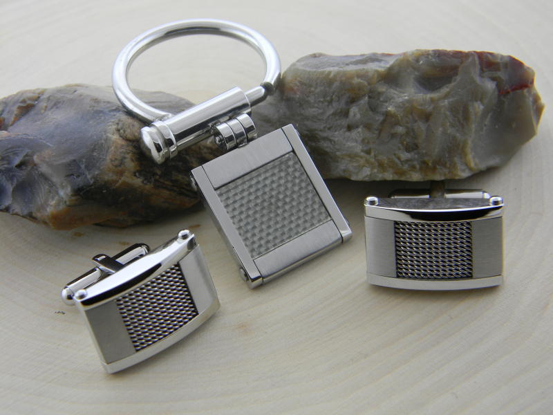 Stainless steel key chain and cuff links with carbon fiber inlay : For Him : Aspen Jewelry Designs