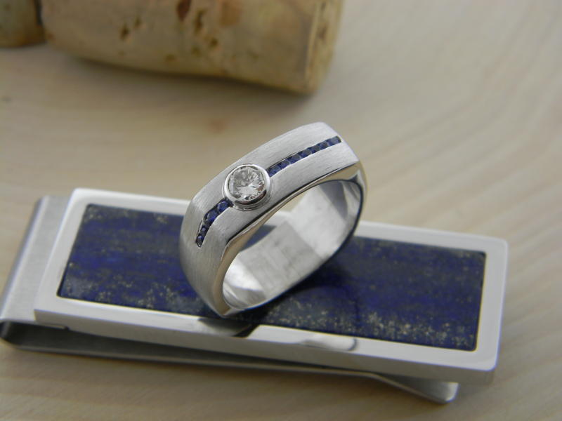 Palladium diamond and sapphire custom designed ring : For Him : Aspen Jewelry Designs