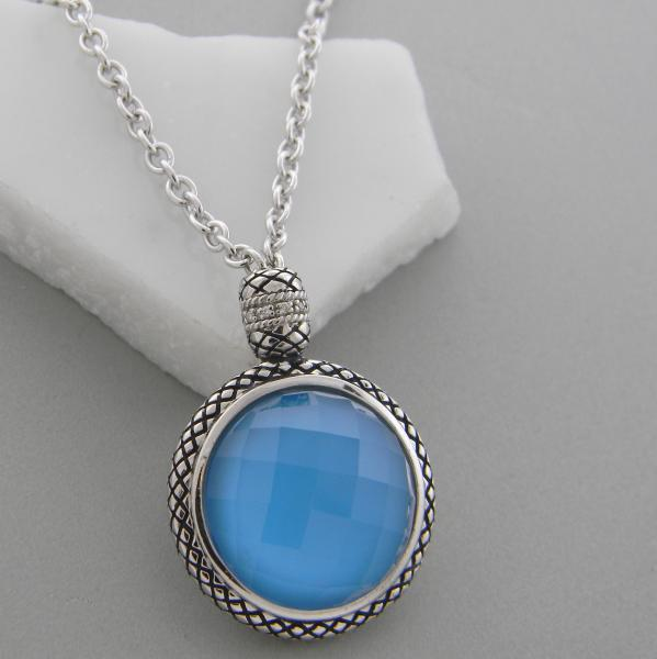 Sterling silver and faceted quartz with blue turquoise necklace