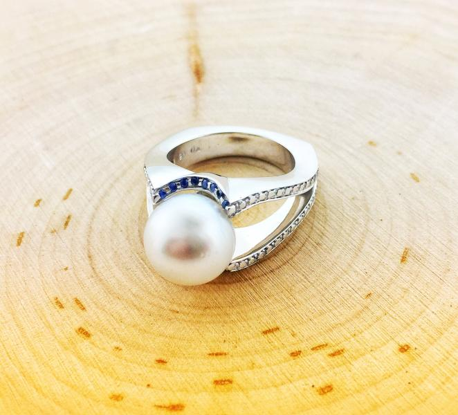 South Sea cultured pearl, blue sapphires and diamonds. Fashioned in 18 karat white gold. : Pearls : Aspen Jewelry Designs