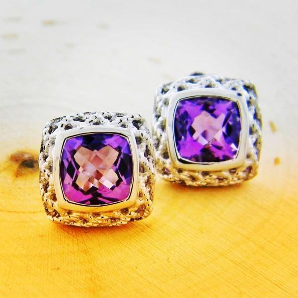 Sterling silver and cushion cut amethyst earrings : Gemstone : Aspen Jewelry Designs