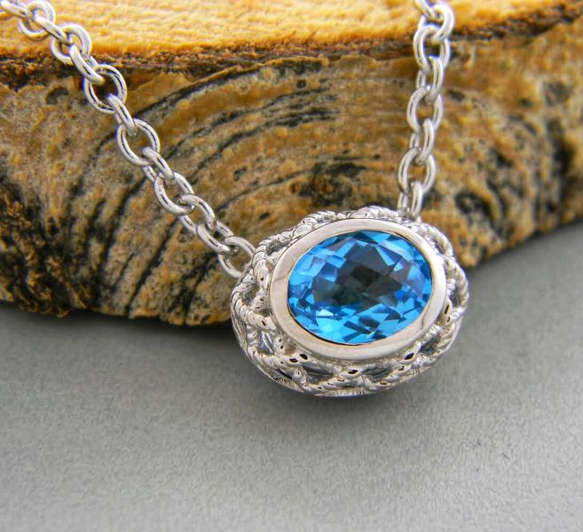 Sterling silver and Swiss blue topaz necklace : Gemstone : Aspen Jewelry Designs