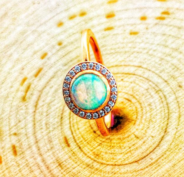 Ethiopian opal set in rose gold and a diamond halo : Gemstone : Aspen Jewelry Designs