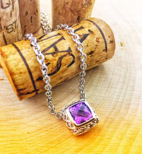 Sterling silver necklace with a cushion checkerboard cut amethyst