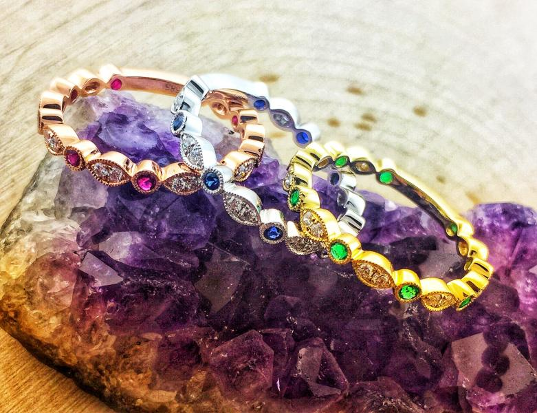 Ruby, sapphire and emerald stackable rings : Gemstone : Aspen Jewelry Designs