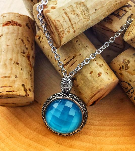 Sterling silver necklace with turquoise, faceted quartz and diamonds   : Gemstone : Aspen Jewelry Designs