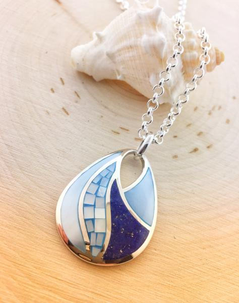Sterling silver, blue mother of pearl and lapiz
