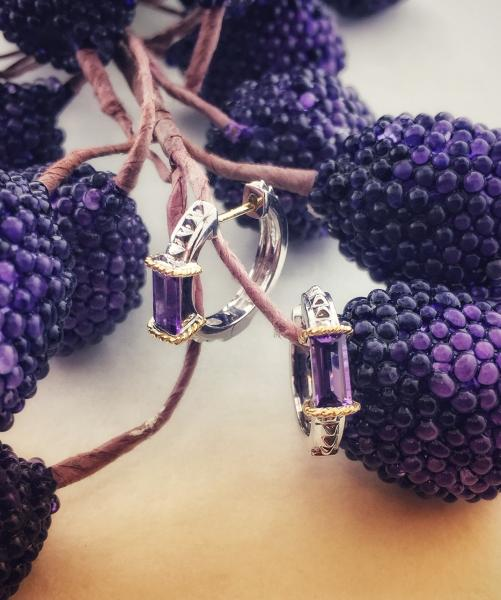Sterling silver and 18 karat gold amethyst huggie style earrings