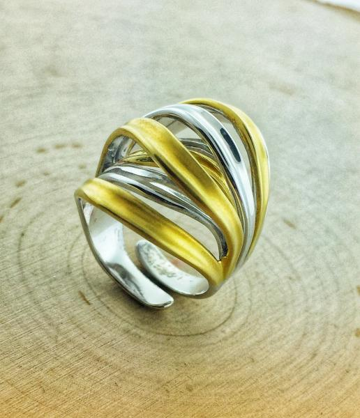 Sterling silver and 14 karat gold vermeil ring
