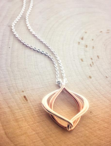 Sterling silver and rose gold necklace