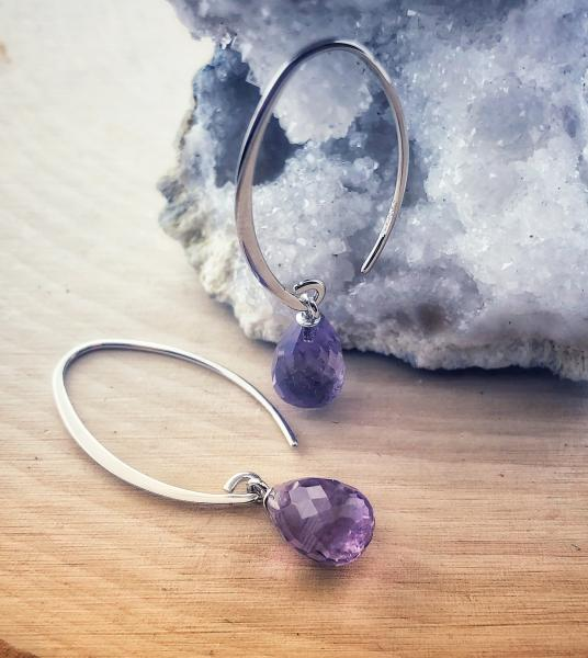 Sterling silver briolette faceted amethyst dangle earrings. $105.00
