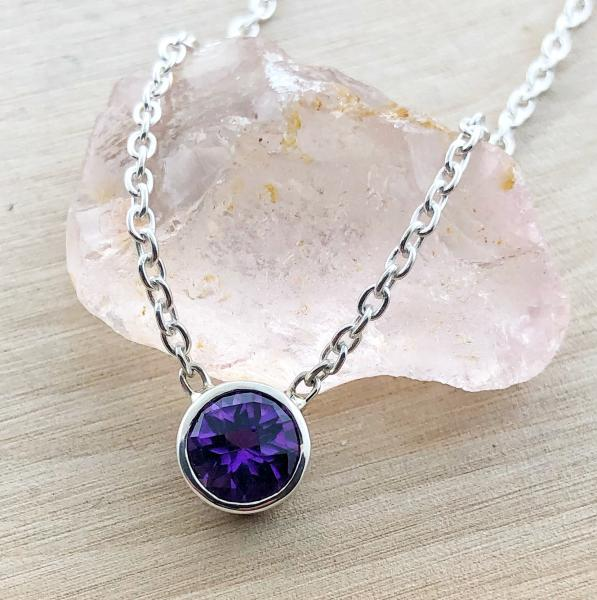"Sterling silver 16"" 0.75ct amethyst bezel necklace. $90.00"