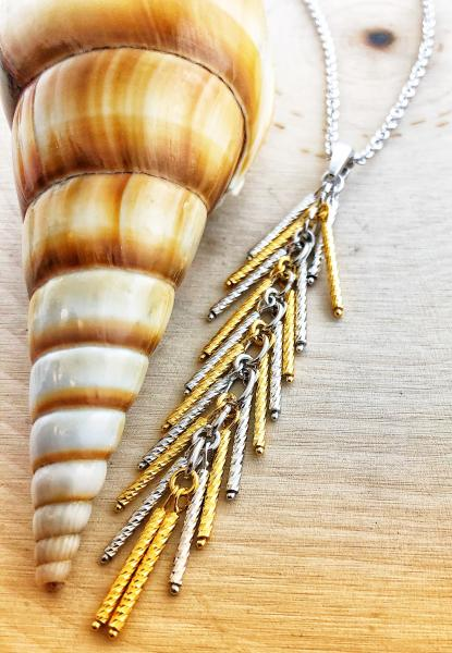 Sterling silver and 18 karat gold vermeil tassel necklace. $295.00