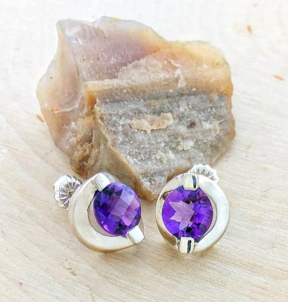 Sterling silver checkerboard cut amethyst studs. Custom designed. $195.00