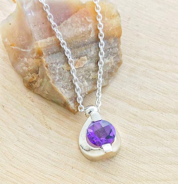 Sterling silver checkerboard cut amethyst necklace. Custom designed. $175.00