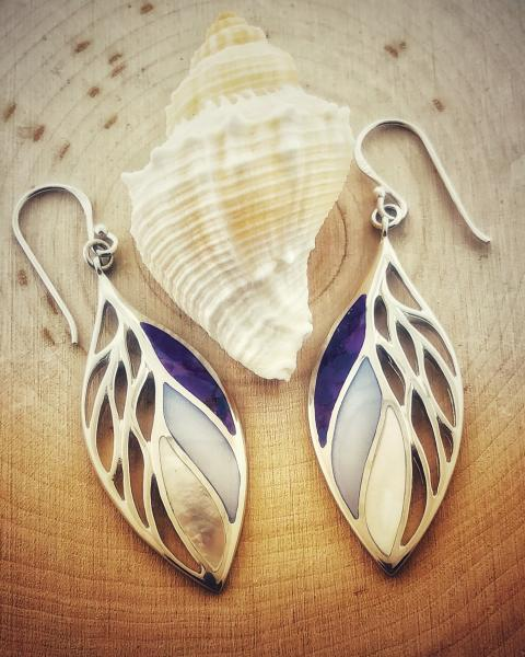 Sterling silver, purple turquoise, blue mother of pearl and white mother of pearl earrings. $165.00