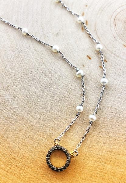 Sterling silver, freshwater pearl and black diamond circle necklace. $250.00