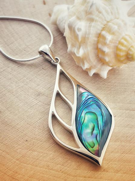 Sterling silver abalone necklace. $115.00