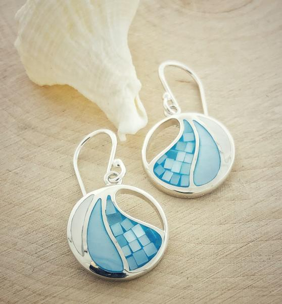 Sterling silver earrings with mother of pearl and mosaic inlay. $120.00