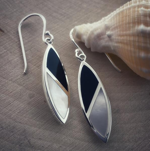 Sterling silver, black onyx and mother of pearl marquise earrings. $120.00