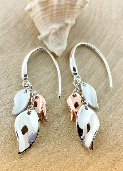 Sterling silver and rose gold overlay blossom petal dangle earrings. $110.00
