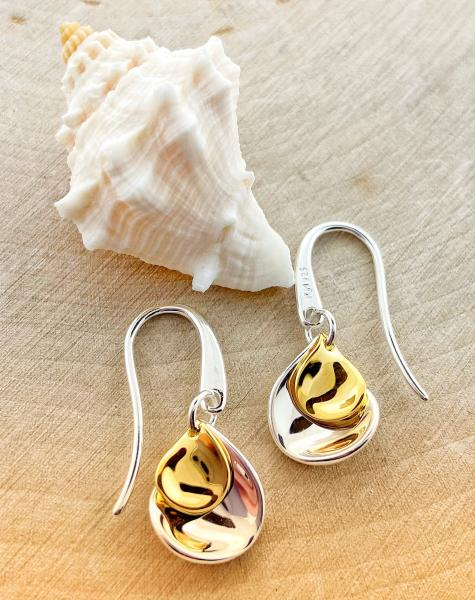 Sterling silver and yellow gold overlay petal drop earrings. $87.00