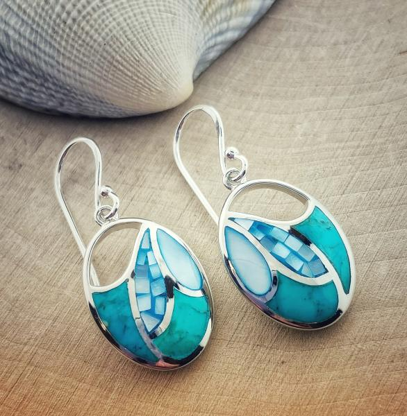 Sterling silver blue mother of pearl and turquoise earrings. $155.00