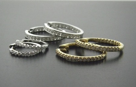 Diamonds hoops. Available in any size diamond. Platinum, 14 & 18 karat gold.