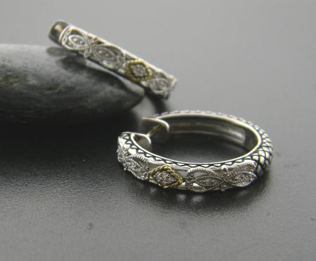 sterling silver and 18 karat hoop earrings with diamond accents