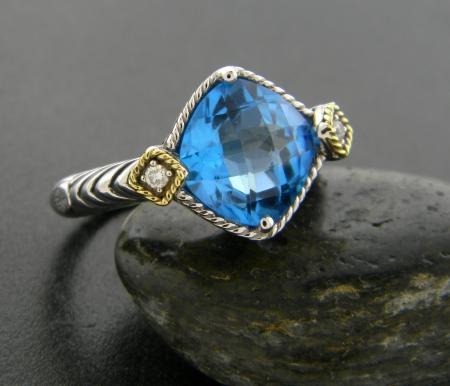 Sterling silver and 18 karat gold, Swiss blue topaz and diamond ring