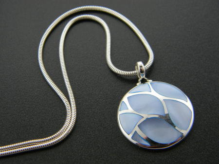 Sterling silver blue mother of pearl necklace