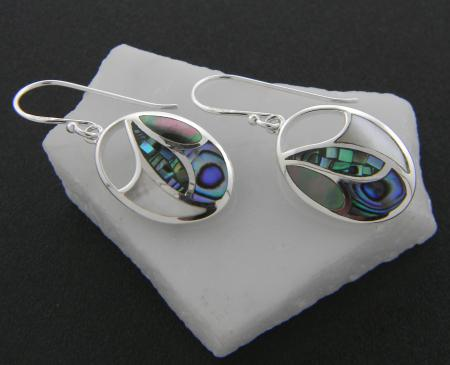 Sterling silver abalone, black and white mother of pearl earrings
